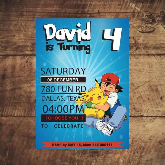 Pokemon Invitation Birthday Party