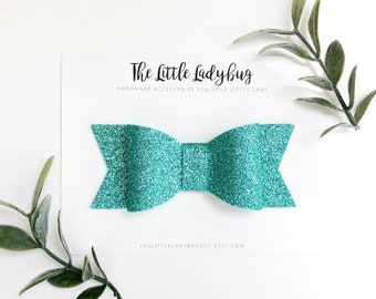 Glitter Hair Bow for Newborn, Baby, Toddler, Girls | Emerald Green Glitter Hair Bow | Headband or Clip  | Three Size Choices, Ready to Ship