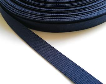 "Cotton Webbing by the Metre, 1"" (25mm) Navy Blue - Natural - Black - Dark Brown   Cotton Tote Bag Strap Handles, 2.5cm Heavy Duty Belting"