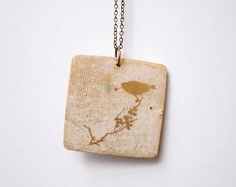 Unique Handmade Necklace. Stoneware Gold Pendant. Handmade Jewelry. Golden Bird Pendant.