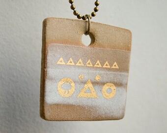 Unique Handmade Necklace. Stoneware Gold Pendant. Ceramic Pendant. Handmade Pendant. Pendant Necklace. Jewelry Handmade. Ceramic Jewelry.