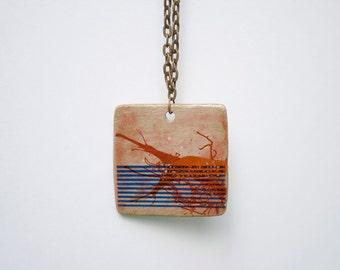 Unique Handmade Necklace. Stoneware Pendant. Handmade Jewelry.