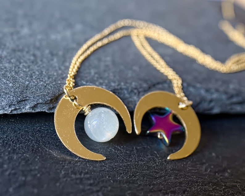 Crescent moon necklace All 14k gold filled necklace Genuine moonstone necklace 14k Gold moon necklace Double horn necklace Celestial jewelry