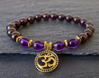 Garnet bracelet Amethyst bracelet Gold Om bracelet charm Womens bracelet Meditation beads Yoga mala bracelet Intuition Love Calm Protection