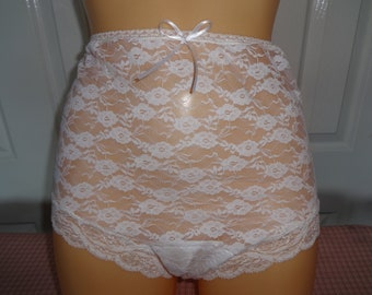 3c61ac00b30 White lace high waist granny knickers panties sissy vintage 1950 s satin  gusset