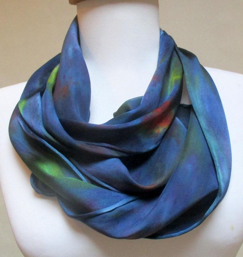 Skinny Scarf. Shades of Blue Indigo. Hand Painted Silk.  Ready image 0