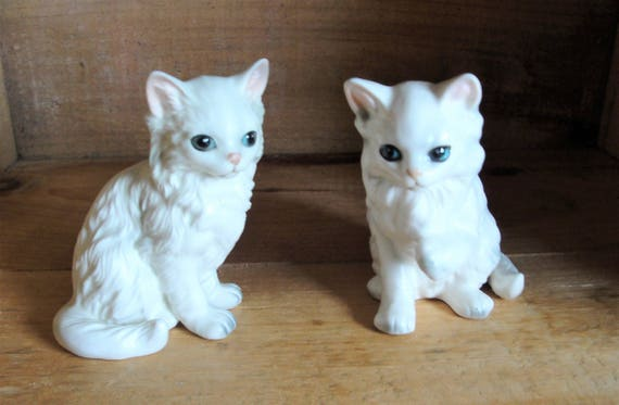 80c4a633d568f 2 Vintage Lefton White Persian Kitten Figurines Cats