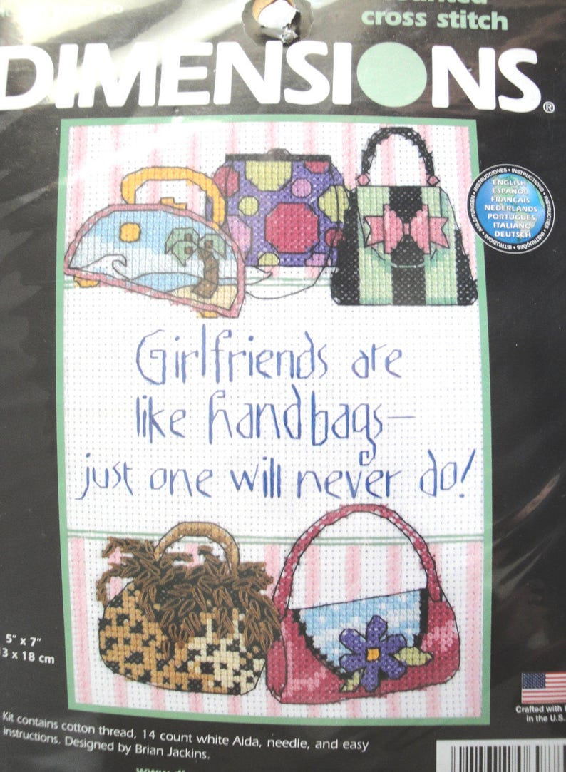 b678479366506 Dimensions Counted Cross Stitch Kit Handbags One Will Never Do 6988 Purses  Friends