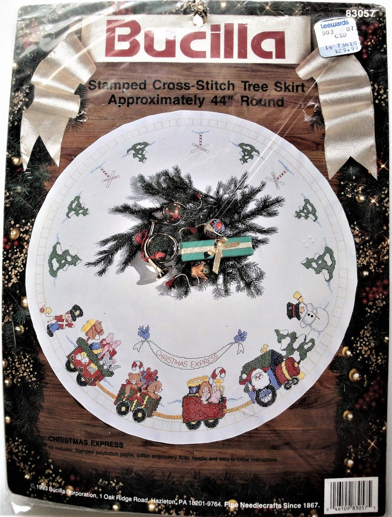 e3f3b4893899d Vintage Bucilla Cross Stitch Tree Skirt Kit, Christmas Express 83057, NIP
