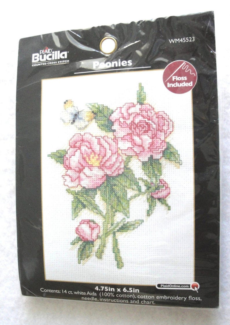 065688fb436e2 Counted Cross Stitch Kit Peonies Kit NIP WM45523 Bucilla Plaid Small