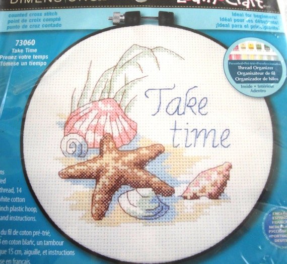 86a56ebf2517c Dimensions Counted Cross Stitch Kit Take Time 73060 NIP Beach Shells  Starfish Learn a Craft