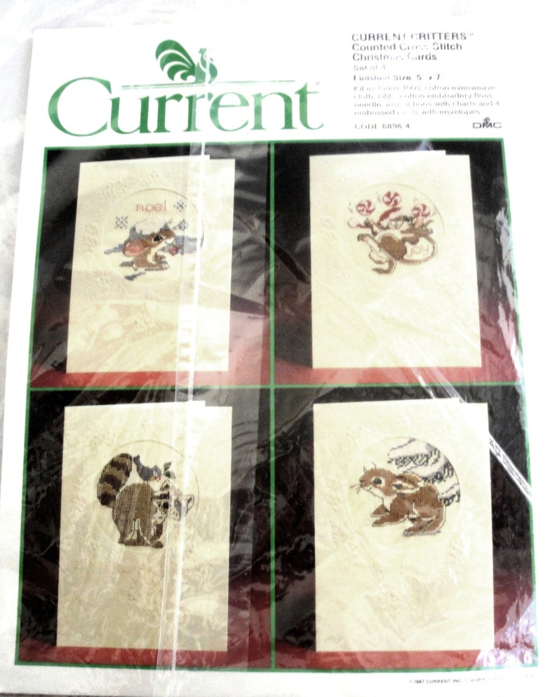 c0be6b12693aa Vintage Current Critters Counted Cross Stitch Christmas Card Set of 4 6896  4 NIP