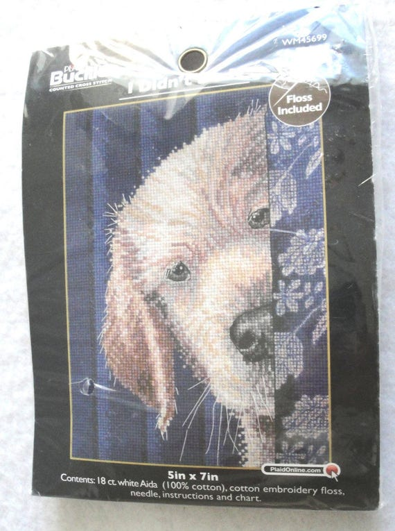 2e90d7395f895 Counted Cross Stitch Kit Labrador Puppy I Didn't Do It NIP WM45699 Bucilla  Plaid Small Dog