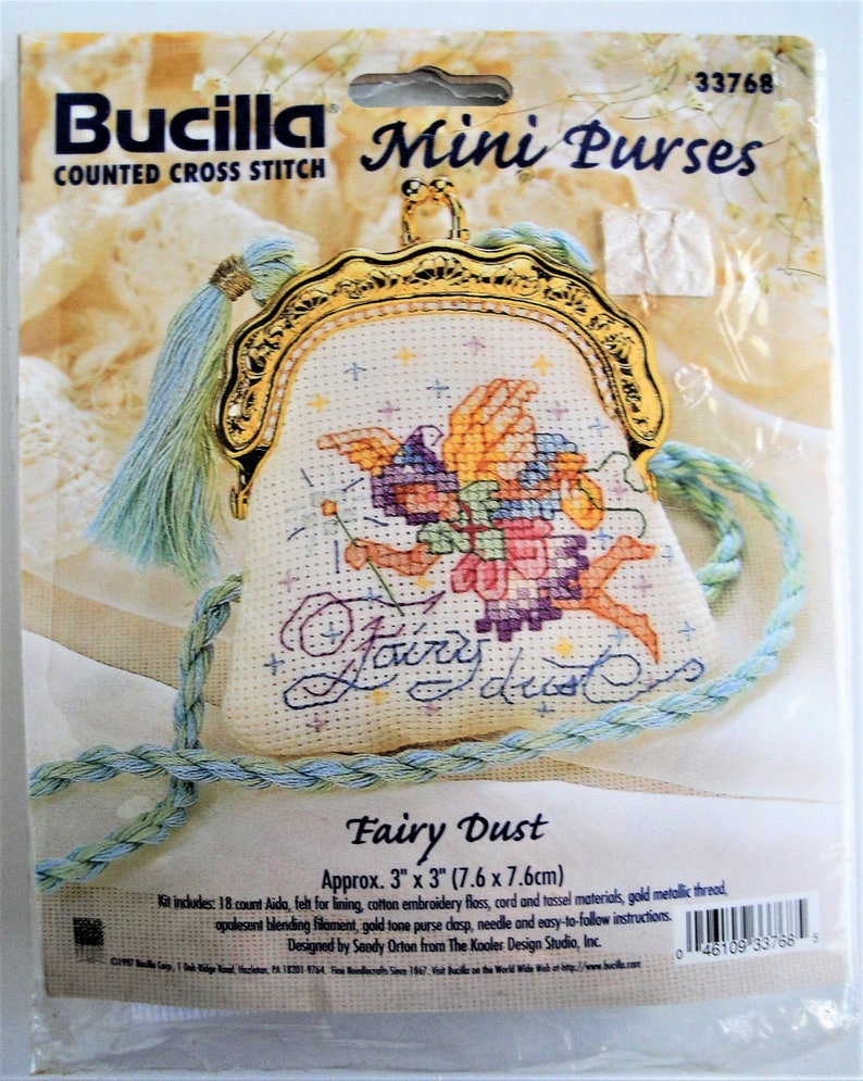 6154b2cfe08ab Vintage Bucilla Mini Purses Cross Stitch Kit Fairy Dust 33768 Hard to Find  3