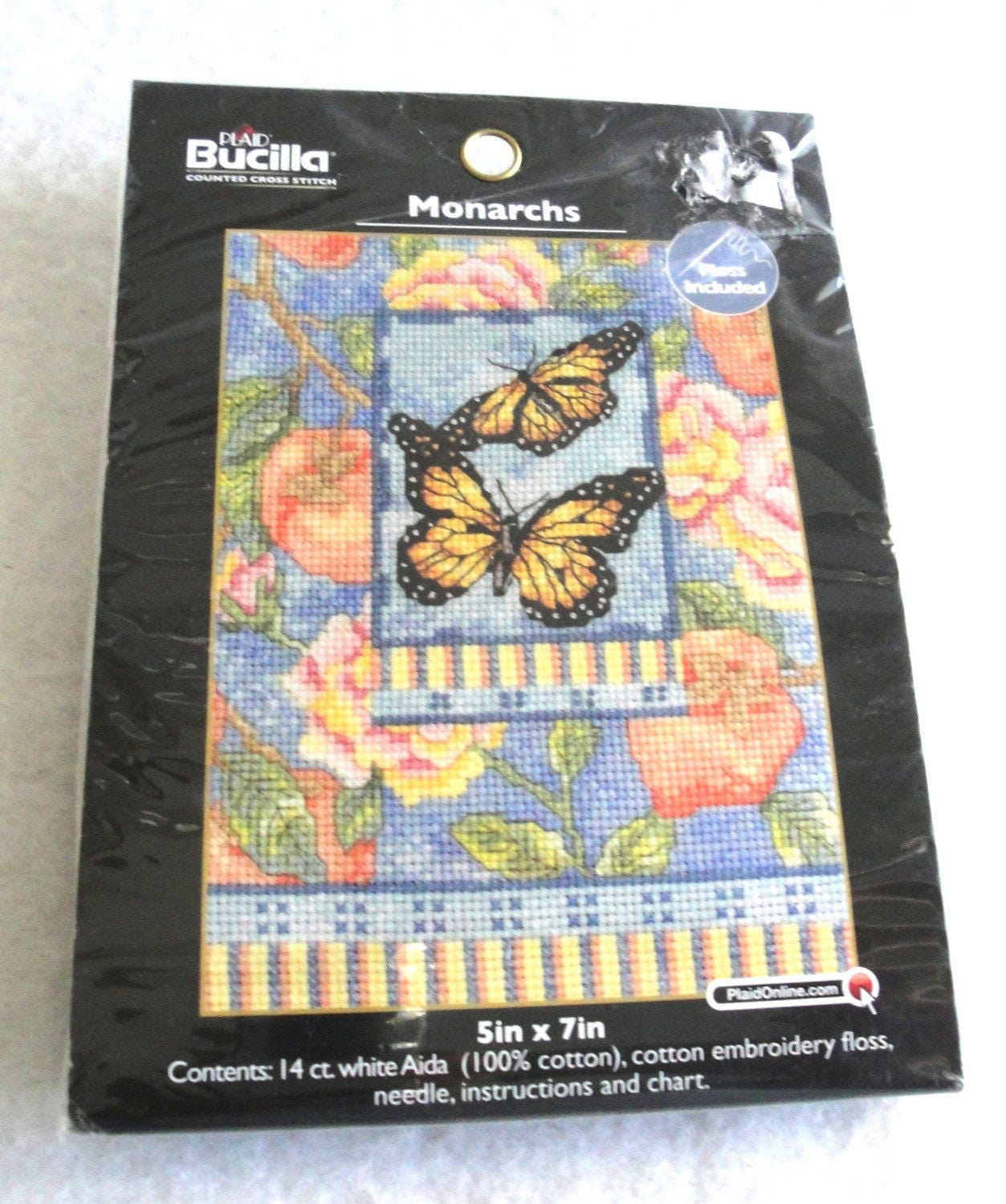d13170111f9bf Counted Cross Stitch Kit Monarchs Butterflies Kit NIP WM45509 Bucilla Plaid  Small