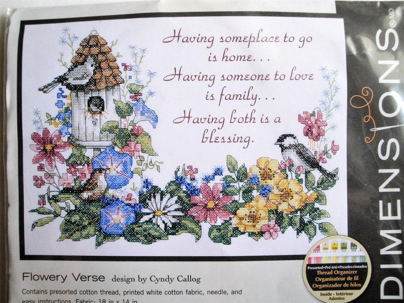 Dimensions Cross Stitch Kit, Flowery Verse, 3160, NIP Birds Flowers