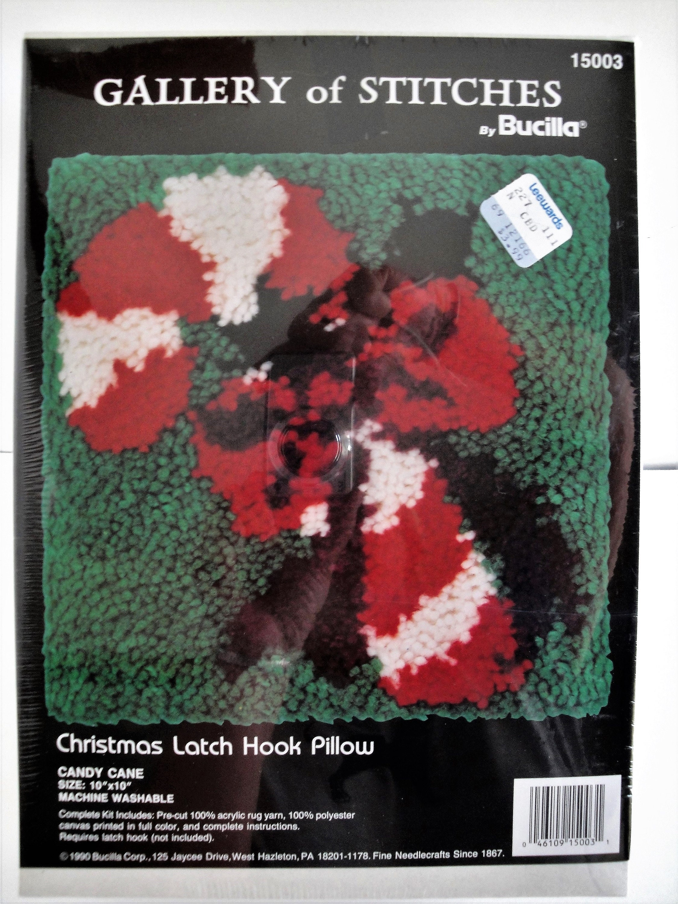 72b9866313f7d Vintage Bucilla Christmas Latch Hook Pillow Kit NIP Candy Cane 15003 10 x 10