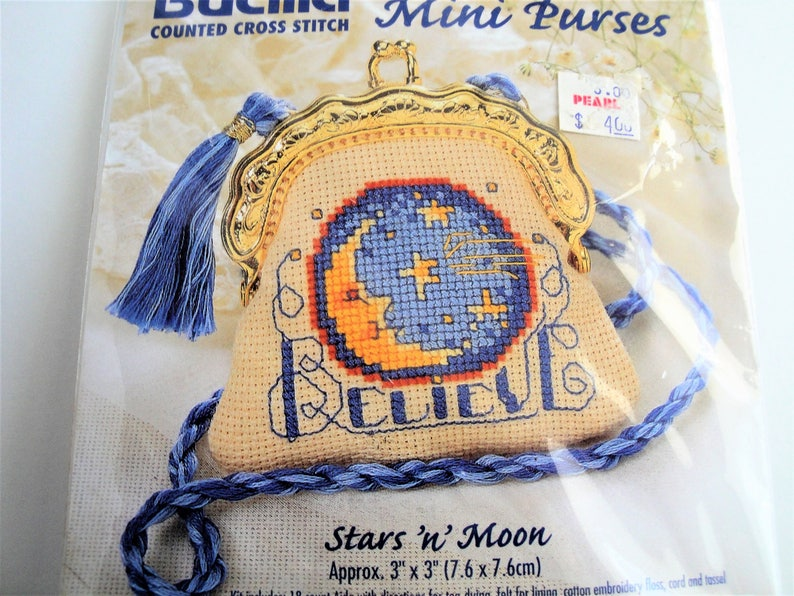 99433a9e17527 Vintage Bucilla Mini Purses Cross Stitch Kit Stars n Moon 33764 NIP Hard to  Find 3
