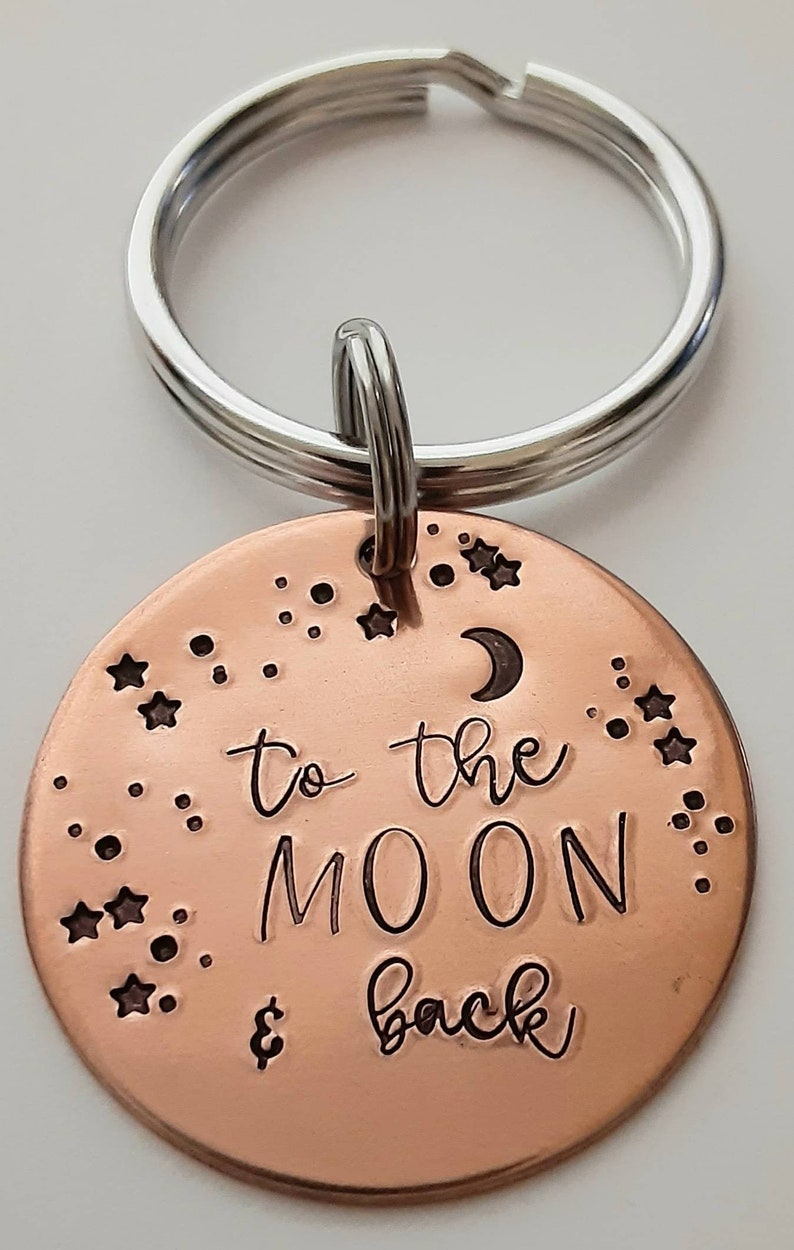 gift for him to the moon copper key ring hand stamped keychain Christmas Valentines Keychain moon gift for her boyfriend gift stars