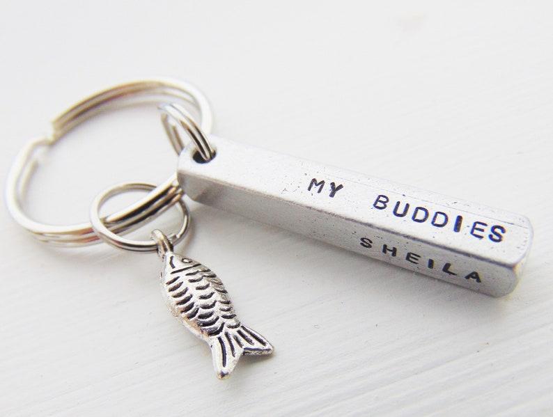 Fish keychain My Buddies Gift for Him Dad Children Personalized Keyring Father/'s Day Gift Custom Dad Key Ring Fishing Buddy Keychain