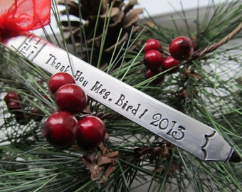 Personalized Teacher Ornament Hand Stamped Teacher Ornament Teacher Pencil Ornament Teacher Appreciation Gift