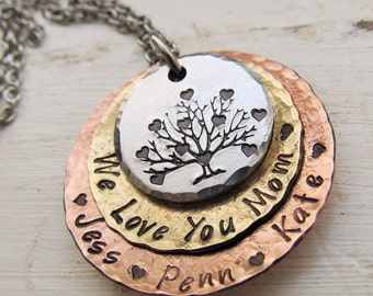 Mothers Necklace, Personalized, Tree of Life, Mixed Metal Necklace, Mommy,Mothers Day Gift, Family Tree Necklace, Gift for Her