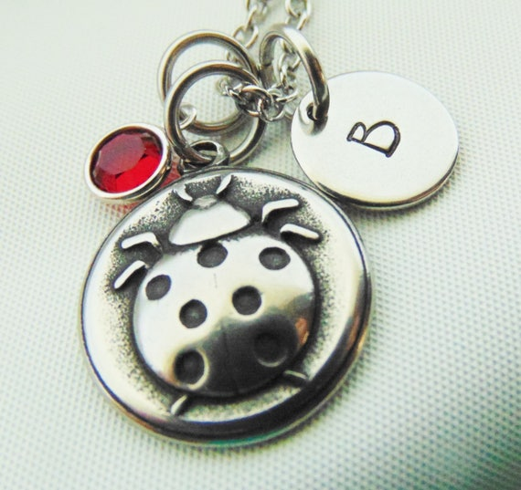 Personalized 18th Birthday Necklace Initial Custom: Personalized Girls Necklace Ladybug Necklace Girls