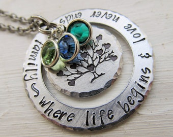 Mother's Necklace Hand Stamped Family Tree Of Life Necklace Mothers Day Gift Gift for Her Family Tree Necklace Birthstone Gift