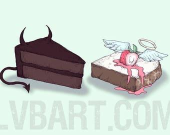 Devil's Food Cake vs Angel Food Cake Fine Art Print