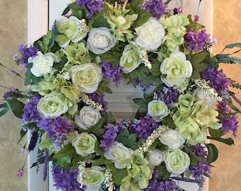 Purple Wreaths Garden Wreaths Spring Wreaths for Front Door Spring Flower Wreath Door Wreaths Spring Purple Flower Wreath