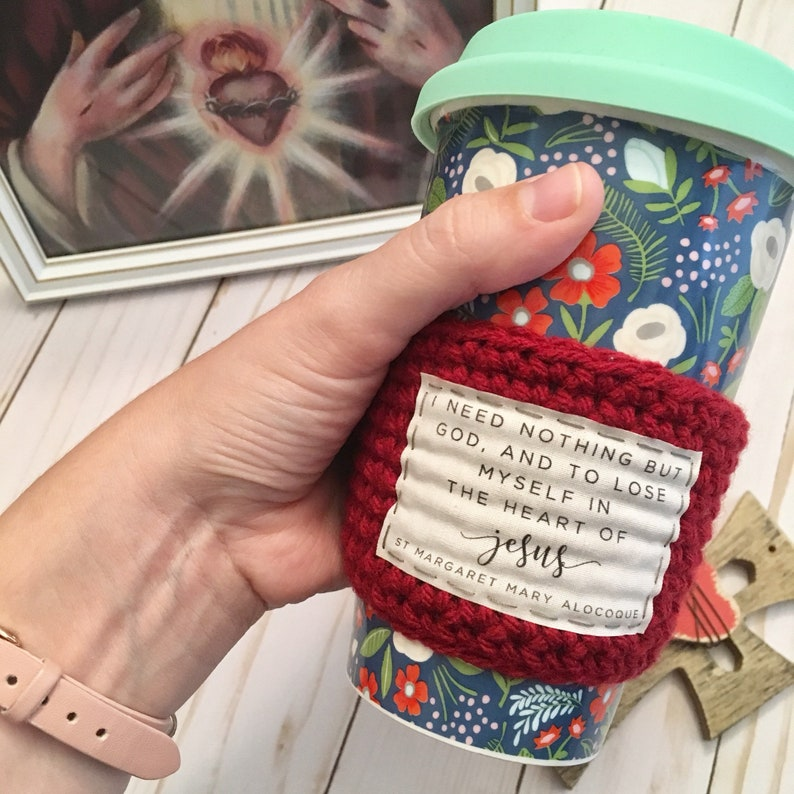 Coffee cozy. Catholic gifts for women. Sacred heart cup cozy. image 0