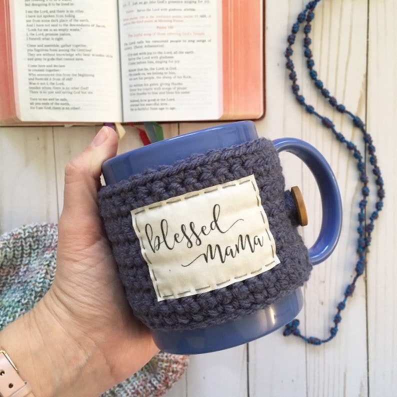 Mug cozy. Blessed mama. Coffee cup cozy. Christian mama. image 0