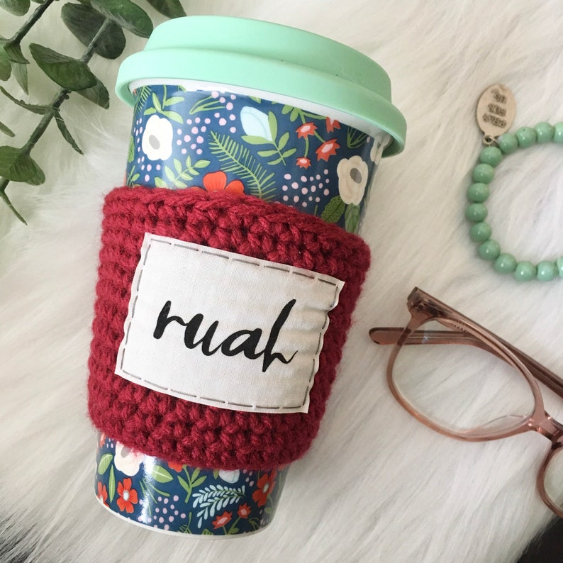 Red coffee sleeve Coffee cozy Holy Spirit cozy Confirmation gift. Ruah breath of God Catholic gifts