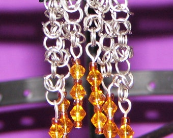 Dangle earrings, Byzantine with Glass Beads