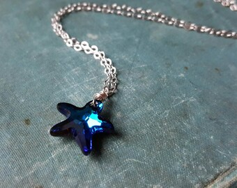 Bermuda Swarovski Crystal Starfish Necklace, Starfish Jewelry, Blue Crystal Necklace, Sterling Silver Necklace, Beach Jewelry, Blue Earrings