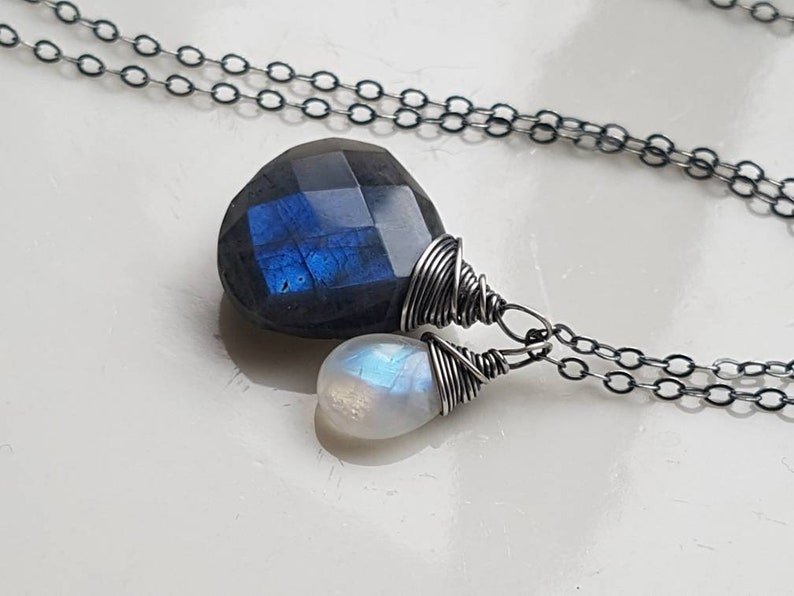 Dainty Necklace Labradorite Necklace Moonstone Necklace Gemstone Labradorite and Moonstone Necklace Moonstone Jewelry Gift for her