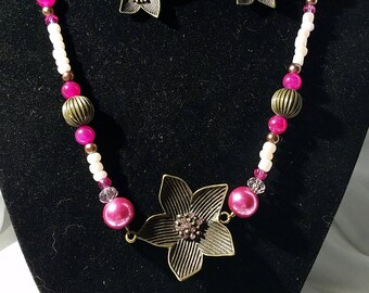 Brass and Pink Cherry Blossom Necklace Set