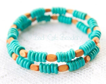 Turquoise Heishi Summer Stretch Bead Stack Bracelet Duo with Gold Brown Wood Beads 6mm Blue Turquoise Beads the Bad Cat Beadery