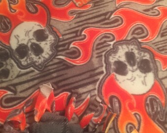 Biker Flame Blanket, Harley, Flaming Skull Fleece Throw, Fleece Blanket, Christmas Fleece, Biker Blanket, Motorcycle Fleece, Flames
