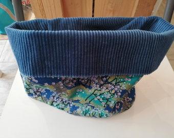 Snood ou col en velour bleu et coton petites fleurs bleus pour enfant b28b00d5474