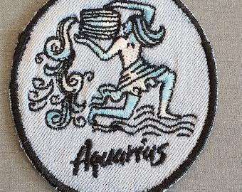 Aquarius Iron-On Patch, on Light Denim, Zodiac Sign
