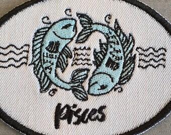 Pisces Iron-On Patch, on Light Denim, Zodiac Sign