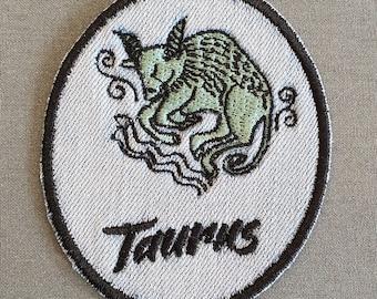 Taurus Iron-On Patch, on Light Denim, Zodiac Sign