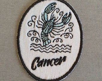 Cancer Iron-On Patch, on Light Denim, Zodiac Sign