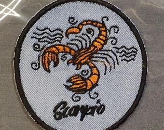 Scorpio Iron-On Patch, on Light Denim, Zodiac Sign