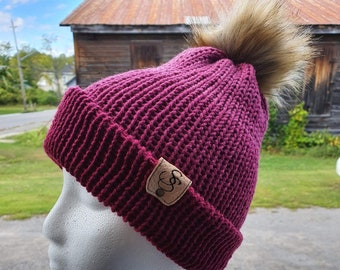 Slouchie Beanie Hat, Pink Ombre Tuque