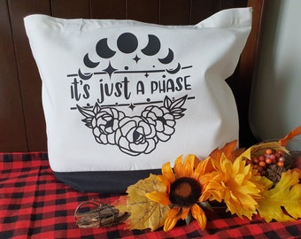 It's Just a Phase, Moon Phases Tote Bag, Extra Large Reusable Bag, Sturdy Cotton Canvas