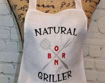 Natural Born Griller White Adult Apron, Embroidered, Fun kitchen, BBQ, Men's, or Women's Apron