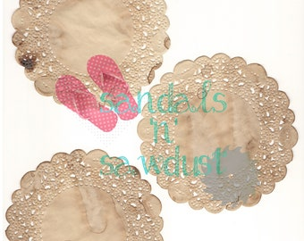 Coffee Dyed Paper Doilies Pack 1, Digital Download, Printable Ephemera