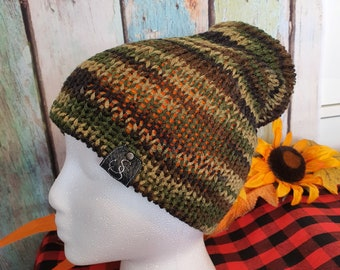 Hunter's Special Reversible Slouchie Beanie Hat, Camo and Orange Tuque